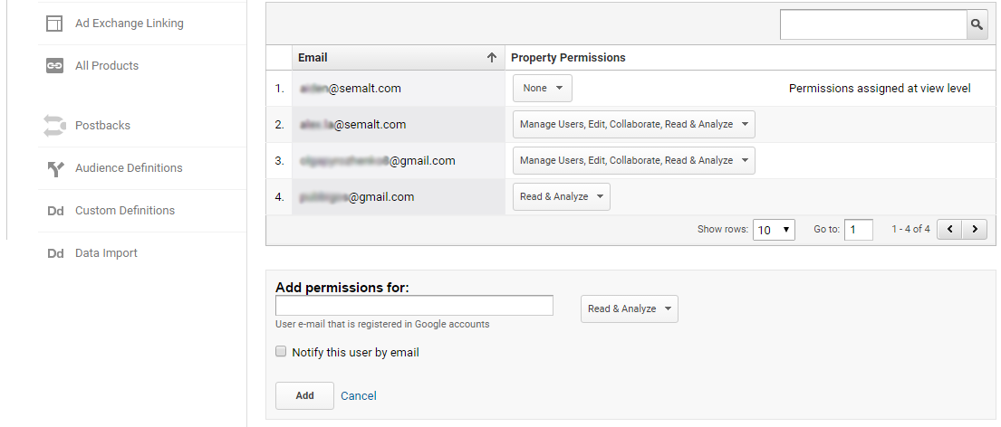 A field for inserting user's Google account address
