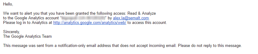 Notification letter about Google Analytics account access