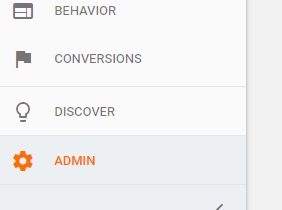 Admin button in Google Analytics account